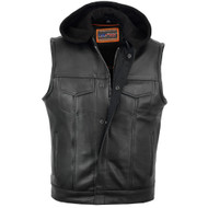 Premium Naked Cowhide Vest with Removable Hood & Hidden Zipper
