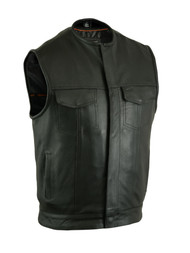 Milled Cowhide Leather Vest With Concealed Snap Closure