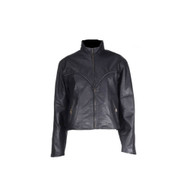 Women Cowhide Jacket With V-Lace