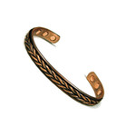Accents Kingdom Men's Magnetic Copper Golf Bangle Bracelet Weave
