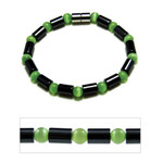 "Accents Kingdom Womens Magnetic Hematite Green Cats Eye Bead Bracelet 7.5"""