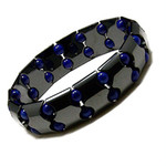 Accents Kingdom Men's Magnetic Hematite Fashion Bracelet W Cobalt Blue Beads
