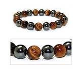 3x Power Men's Magnetic Hematite Tiger's Eye Bracelet 8.5""