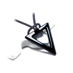 Black Hematite Double Triangle Pendant Leather Cord Necklace
