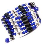 "36"" Magnetic Hematite Pearl Blue Crystal Bead Necklace/Bracelet/Anklet/Lariat E02"