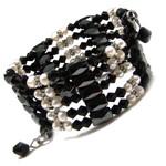 "36"" Magnetic Hematite Pearl Black Crystal Bead Necklace/Bracelet/Anklet/Lariat E05"