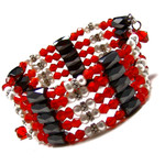 "36"" Magnetic Hematite Pearl Red Crystal Bead Necklace/Bracelet/Anklet/Lariat E07"