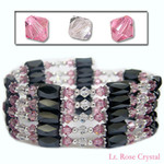 "36"" Swarovski Crystal  Magnetic Hematite Bead Necklace/Bracelet/Wraps/Lariat  Light Rose and Clear"