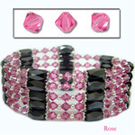 "36"" Swarovski Crystal Magnetic Hematite Bead Necklace/Bracelet/Wraps/Lariat Rose"