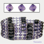 "36"" Swarovski Crystal Magnetic Hematite Bead Necklace/Bracelet/Wraps/Lariat Tanzanite"