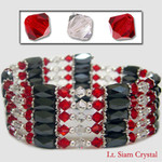 "36"" Swarovski Crystal Magnetic Hematite Bead Necklace/Bracelet/Wraps/Lariat Lt Siam and Clear"