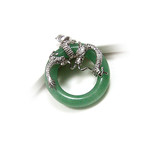 Green Jade Sterling Silver Dragon Hoop Pendant