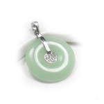Sterling Silver Green Jade Lucky Disc Pendant