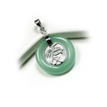 Sterling Silver Green Jade Love Pendant