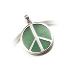 Sterling Silver Green Jade Peace Symbol Pendant
