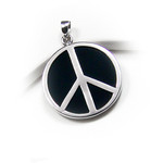 Sterling Silver Black Onyx Peace Symbol Pendant