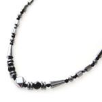 "Accents Kingdom Women's Magnetic Hematite Black Prizm Necklace 18"""