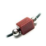 "Men's Golden Stone Leather Cord Surfer Necklace 18"""