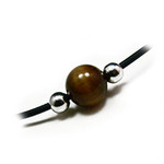 Men's Tiger's Eye Surfer Leather Necklace 18""