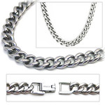 6.9mm Titanium Men's Curb Link Necklace Chain