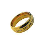 8mm Men's Tungsten Gold Tone Dome Wedding Band Ring