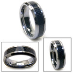 8mm Mens Tungsten Carbon Fiber Wedding Band Ring