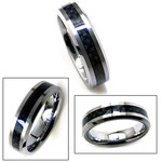 6mm His Or Her Tungsten Band Black Carbon Fiber Ring
