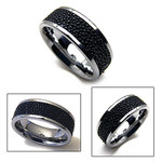 9mm Mens Tungsten Black Stingray Leather Band Ring