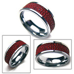 9mm Mens Tungsten Red Stingray Leather Band Ring