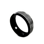 8mm Men's Black Titanium Magnetic Grooved Ring Band