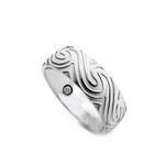 8mm Men's Ocean Swirls Titanium Magnetic Band Ring