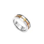 8mm Mens Gold Celtic Cross Titanium Magnetic Ring Band