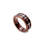 Mens Coffee Gold Celtic Cross Titanium Magnetic Ring