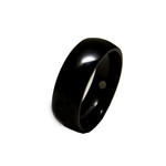 8mm Mens Black Titanium Magnetic Dome Wedding Band Ring