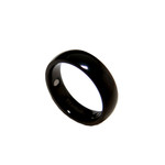 6mm Black Titanium Magnetic Dome Wedding Band Ring