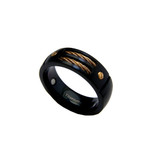 8mm Men's Gun Metal Titanium Magnetic Gold Cable Ring