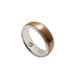 8mm Mens Coffee Gold Titanium Milgrain Magnetic Ring