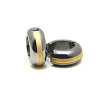 Men's Titanium Gold Inlay Huggie Hoop Earrings