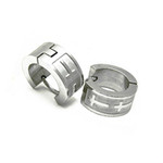 Titanium Huggie Hoop Cross Earrings