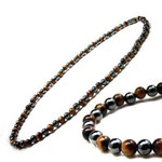 3x Power Men's Magnetic Hematite Tiger's Eye Necklace 18""