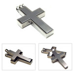 Men's Titanium Classical Cross Pendant Necklace C3