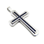 Men's Carbon Fiber Titanium Cross Pendant Necklace