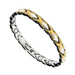 Women's Two Tone Hugs & Kisses Titanium Magnetic Golf Bracelet T8