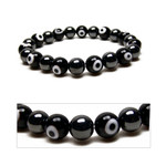 Mens Magnetic Hematite Evil Eyes Bead Bracelet 8.5""