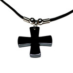 Men's Hematite Celtic Cross Pendant Necklace