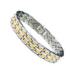 Accents Kingdom Men's Two Tone Titanium Magnetic Power Golf Bracelet T10