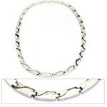 Men's Wave Pattern Titanium Magnetic Link Golf Necklace