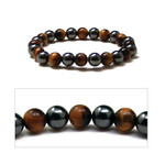 3x Power Men's Magnetic Hematite Tiger's Eye Bracelet 7.5""