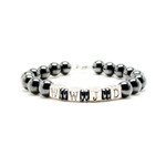 Accents Kingdom Men's WWJD Magnetic Hematite Round Bead Bracelet  8.5""