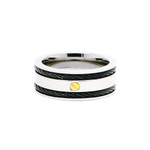8mm Men's Titanium Black Cable Ring Band with Gold Screw